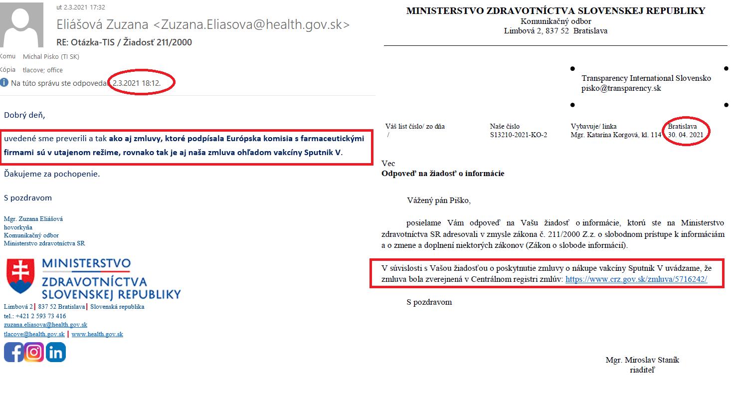 Dve odpovede ministerstva zdravotníctva na našu žiadosť o sprístupnenie zmluvy na nákup vakcíny Sputnik V, ktoré delia dva mesiace.